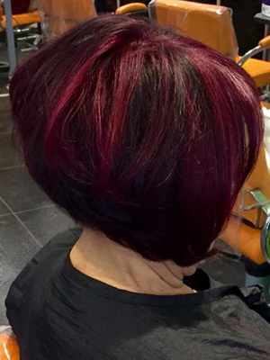 Add drama, with a sleek bob in berry shades